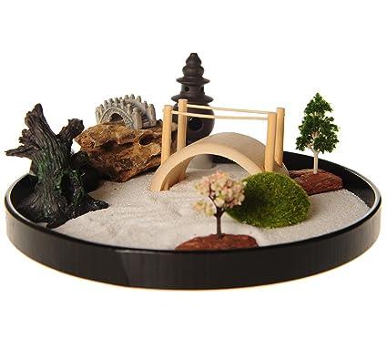 Amazon Com Icnbuys Zen Garden With Boat Bridge Japanese Censers Set