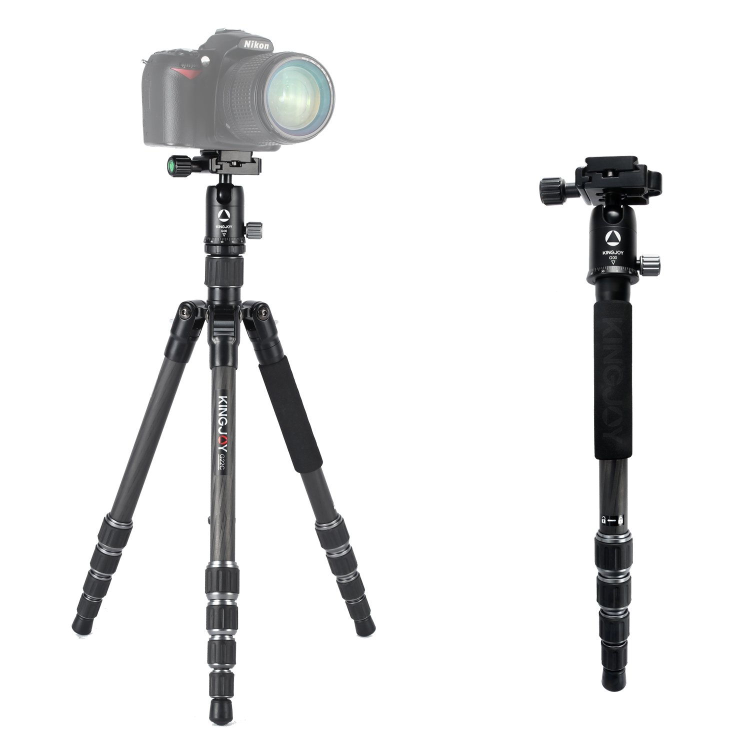 Carbon Fiber Portable Camera Tripod Monopod Trekking Stick,KINGJOY Portable Detachable Tripod with Ball Head and Quick Release Plate for for DSLR Camera, Video Camcorder, Load up to 22lbs/10kg