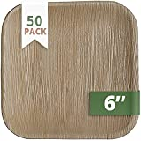 CaterEco 6-inch Square Palm Leaf Plates Set (50 Pack)   Ecofriendly Disposable Dinnerware   Heavy Duty Biodegradable Party Utensils for Wedding, Camping & More