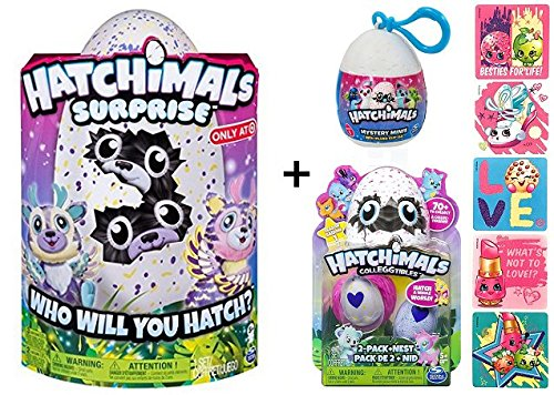 Bonus Plush (Hatchimals Surprise Twins Deeriole + BONUS CollEGGtible 2 Pack with Nest + Mystery Mini Plush Clip-on + 5 Shopkins Glitter Stickers!)