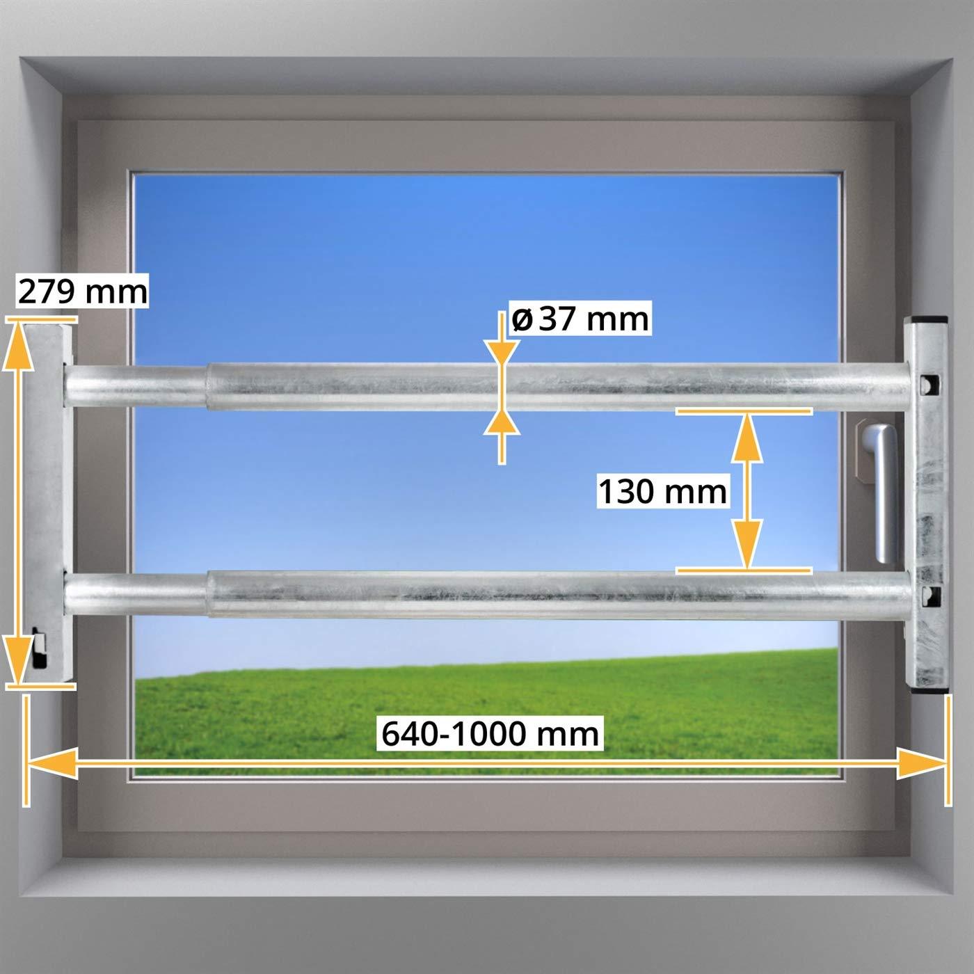 VOSS Fenstersicherung Sicherungsstange T/ürsicherung Einbruchschutz 2Fach 640-1000mm