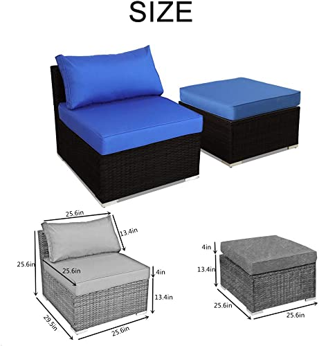 Patio Furniture Sofa Black Wicker Royal Blue Cushion Rattan Sofa Sectional Outdoor Conversation Couch Set Middle Sofa Ottoman
