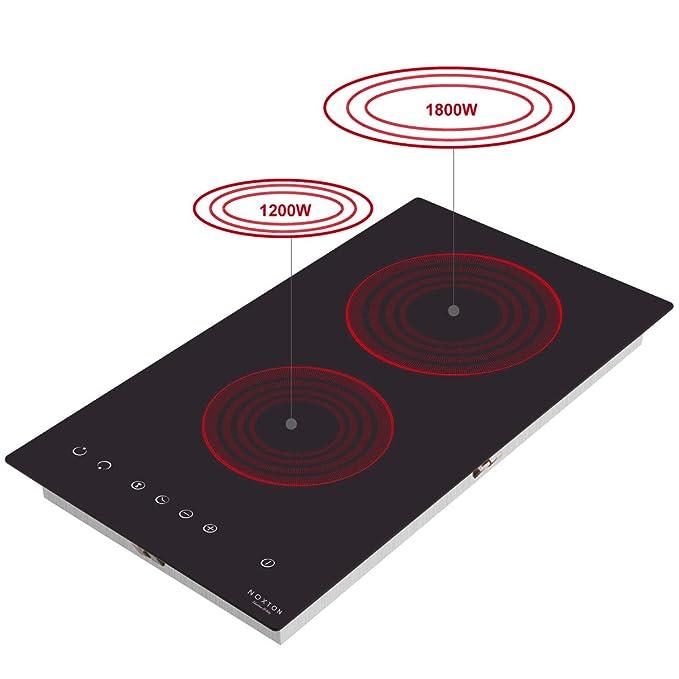 NOXTON Placa Vitrocerámica con 2 Zonas De Cocción Construido en Placas eléctricas de 30 cm Placa Caliente de Cristal Negro Estufa con Sensor de ...