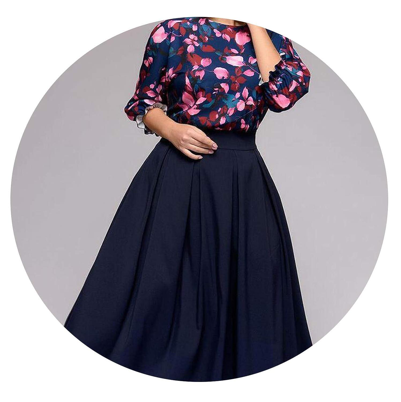 Navy Women Spring Dress Sleeve Patchwork Dress Big Size O Neck Floral Print ALine Party