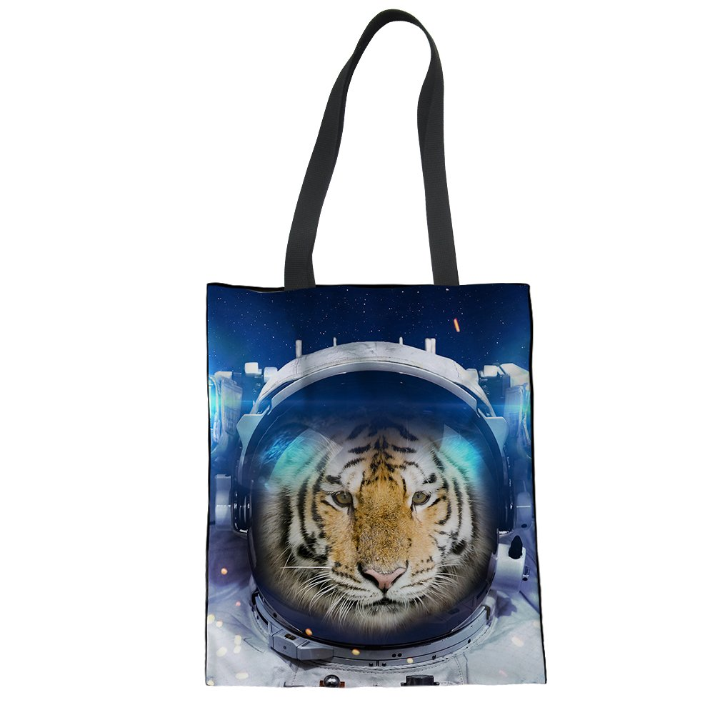 Bigcardesigns Ladies Daily Canvas Reticule Spacesuit Animals Shopping Hand Bag