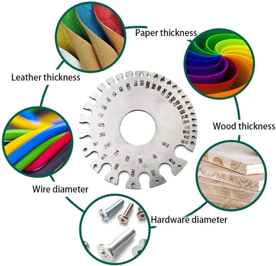 Stainless Steel 1-36 Round AWG SWG Wire Ruler Gauge Diameter Measurer Tool