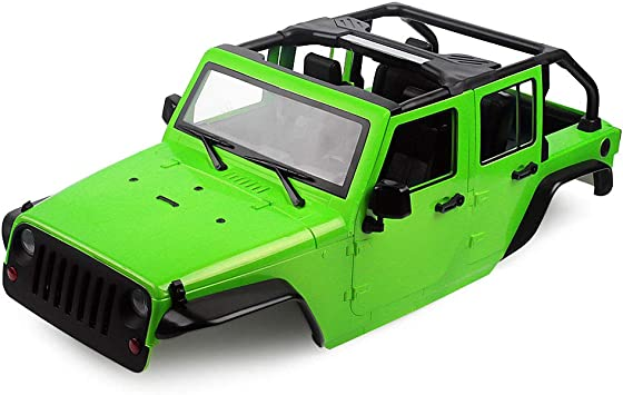 INJORA RC Carrocería Kit 313mm Distancia Entre Ejes Corpo Cuerpo Jeep Wrangler Body Car Shell para 1/10 RC Crawler Axial SCX10 90046 (Verde)