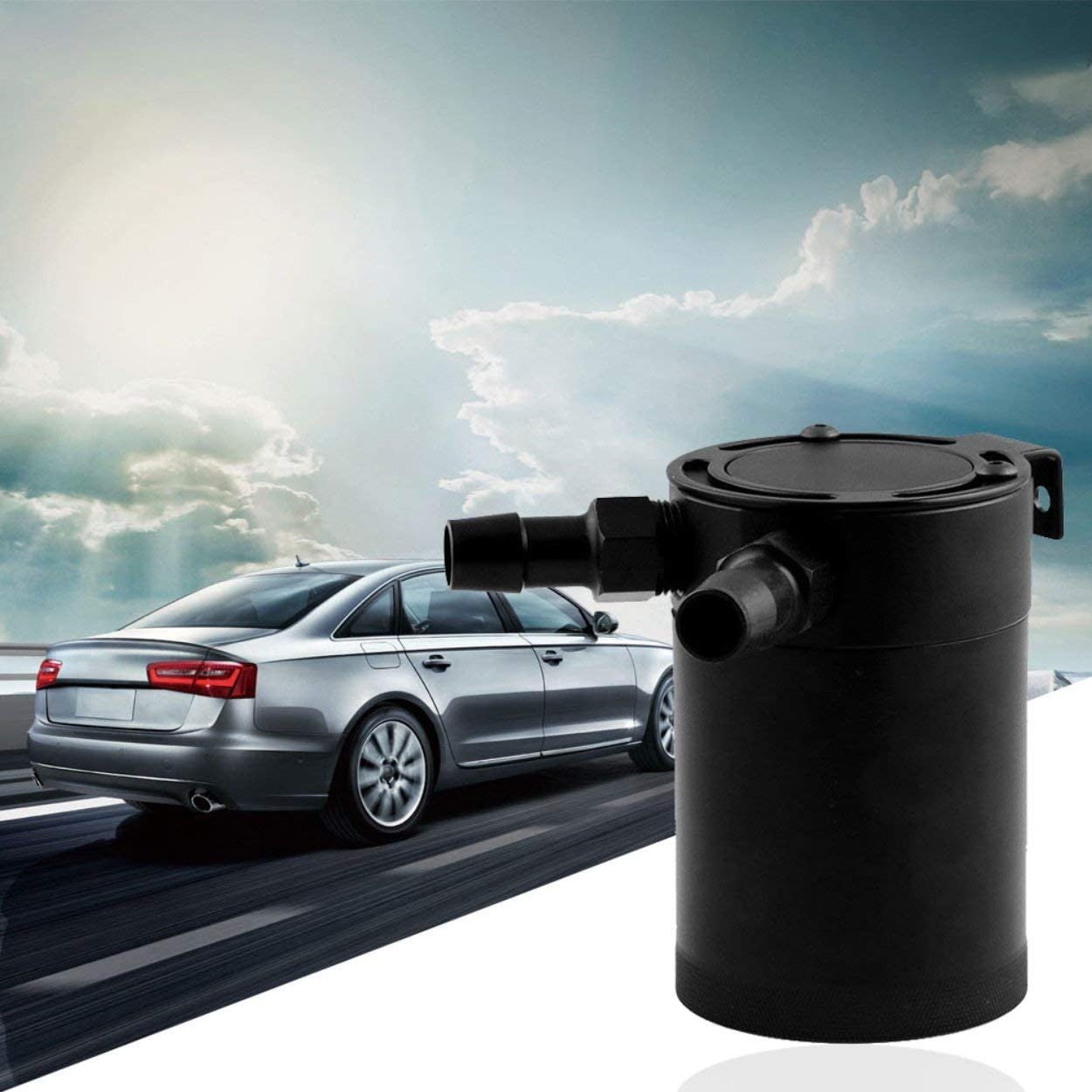Universal Mishimoto Compact Baffled Oil Catch Can 2-Port Universal Zwei-Loch-Abgasr/ückgewinnungskessel