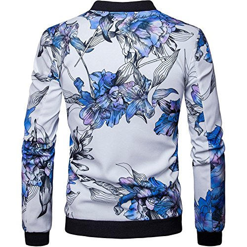YouzhiWan007 Men's Casual Stand Collar Floral Bomber Flight Jacket Slim Fit Bike Motorcycle Coat Outwear #Jk012- WhiteUS Size M (Tag Size M) Cool - Leather Football Keychain Tag