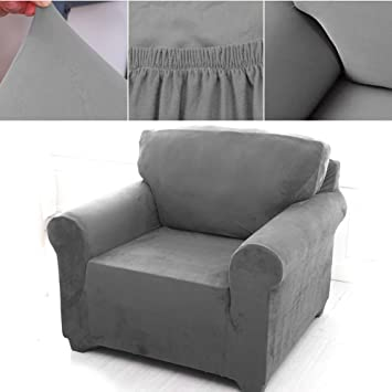1 Sitzer Sofabezug Sesselbezug Sofahusse Sesselhusse Elastisch Verfugbar In Verschiedenen Grossen Grau