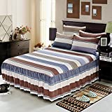 Zhiyuan Coffee and Beige Striped Ruffled Bed Skirt Brushed Microfiber Bedspread Coverlet, Queen
