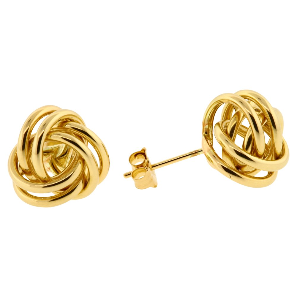 14k Yellow Gold Polished Love Knot Stud Earrings 7, 9, 11 MM (9 Millimeters)