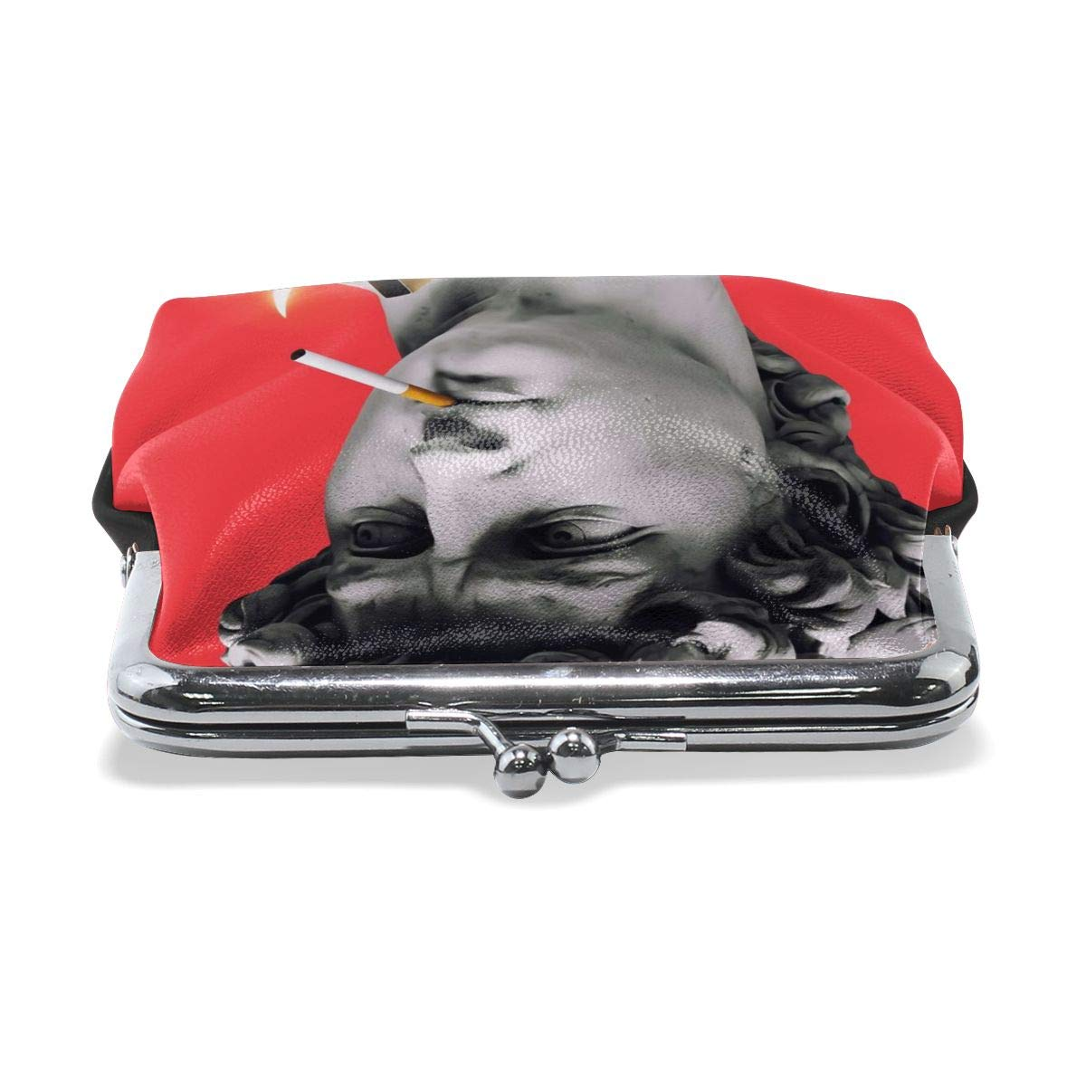 Davids Statue Art Kicks Funny Cool Smoking Vintage Pouch Girl Kiss-lock Change Purse Wallets Buckle Leather Coin Purses Key Woman Printed
