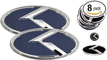 For Steering and Wheel Usudu KA-PCB 5pcs SET VINTAGE K Carbon Fiber Front//Trunk Steering Wheel Center Cap Emblem Badge OVERLAY FOR KIA Forte K5 Optima RIO Stinger