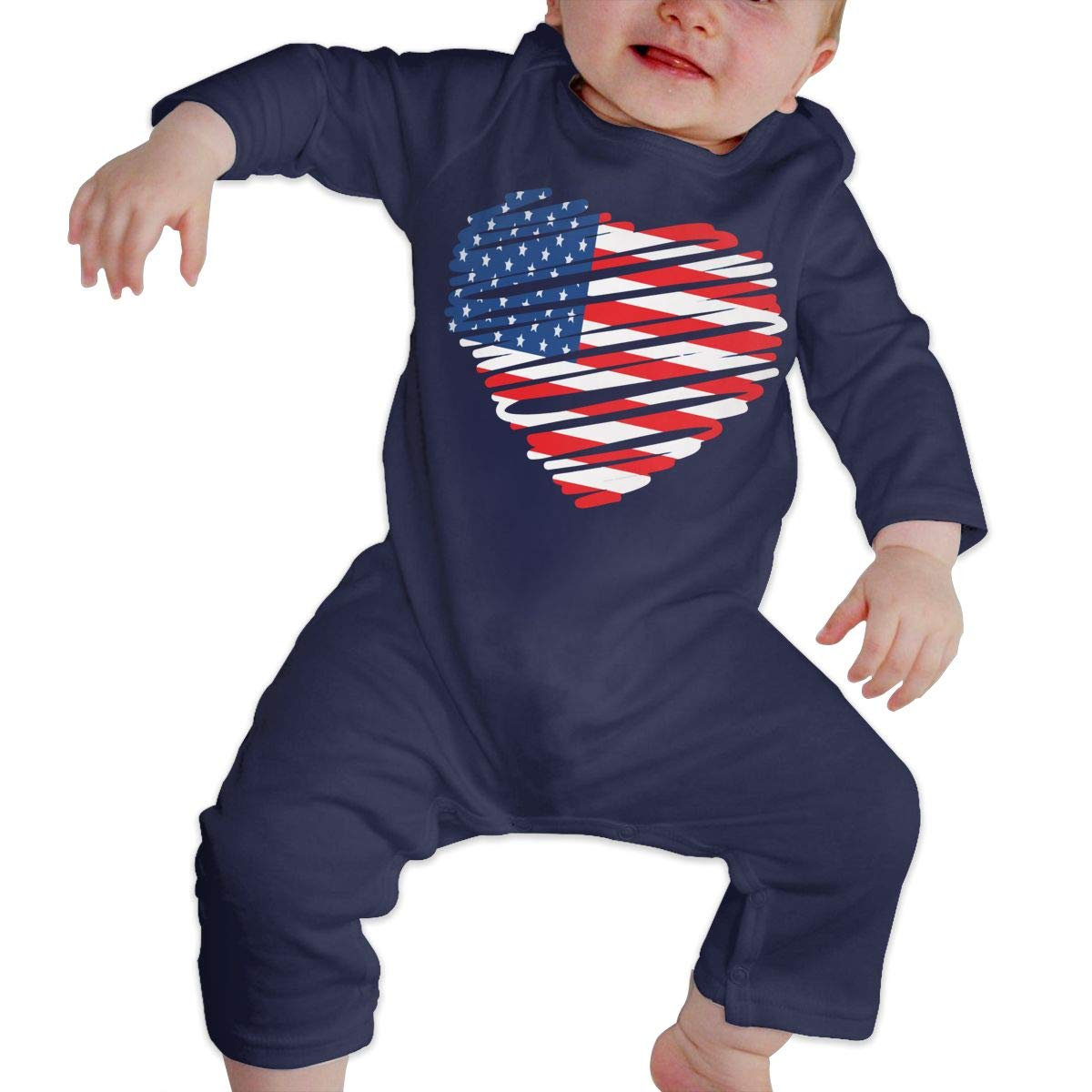 Db84UR@5p Infant Baby Girls Boys Long Sleeve Bodysuit Comfortable American Flag Heart Cotton Romper Outfit