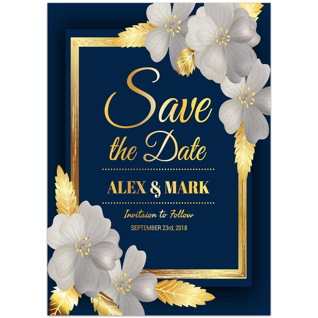 Amazon Blue And Gold Save The Date Card Wedding Invitation Handmade: Blue And Gold Wedding Invitations At Websimilar.org