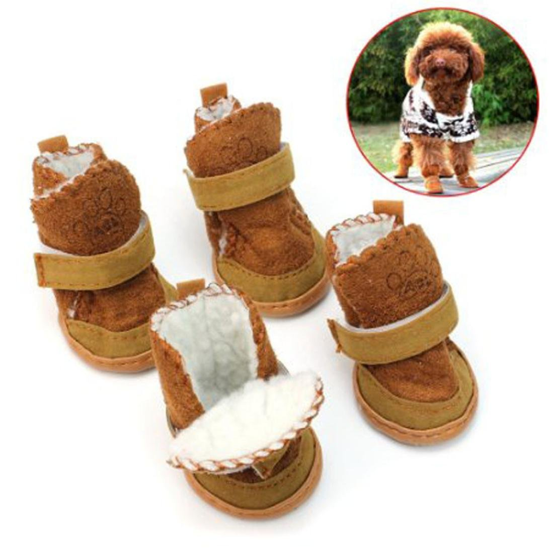 Brown 3 Brown 3 Datework Waterproof Anti-Slip Pet shoes Boot Warm Dog shoes (3, Brown)