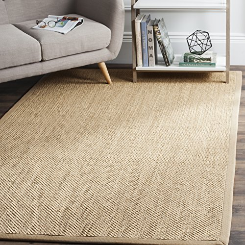 (Safavieh Natural Fiber Collection NF141B Tiger Paw Weave Maize and Linen Sisal Area Rug (9' x)