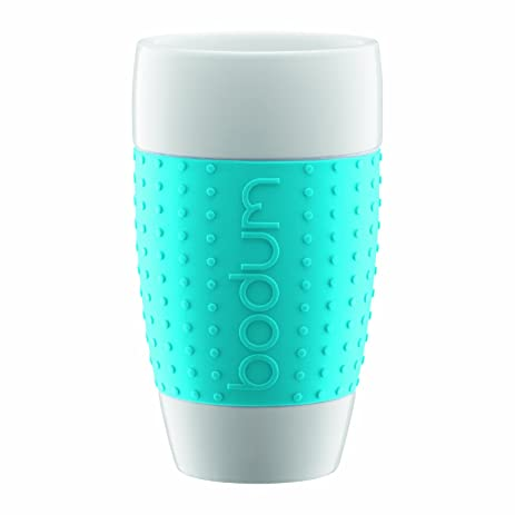 Bodum 17 Ounce Pavina Porcelain Cups With Silicone Grip, Blue, Set Of 2
