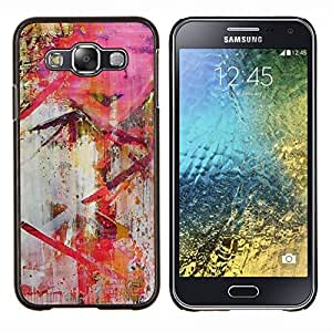 LECELL--Funda protectora / Cubierta / Piel For Samsung Galaxy E5 E500 -- Moderno Pintura roja del arte --