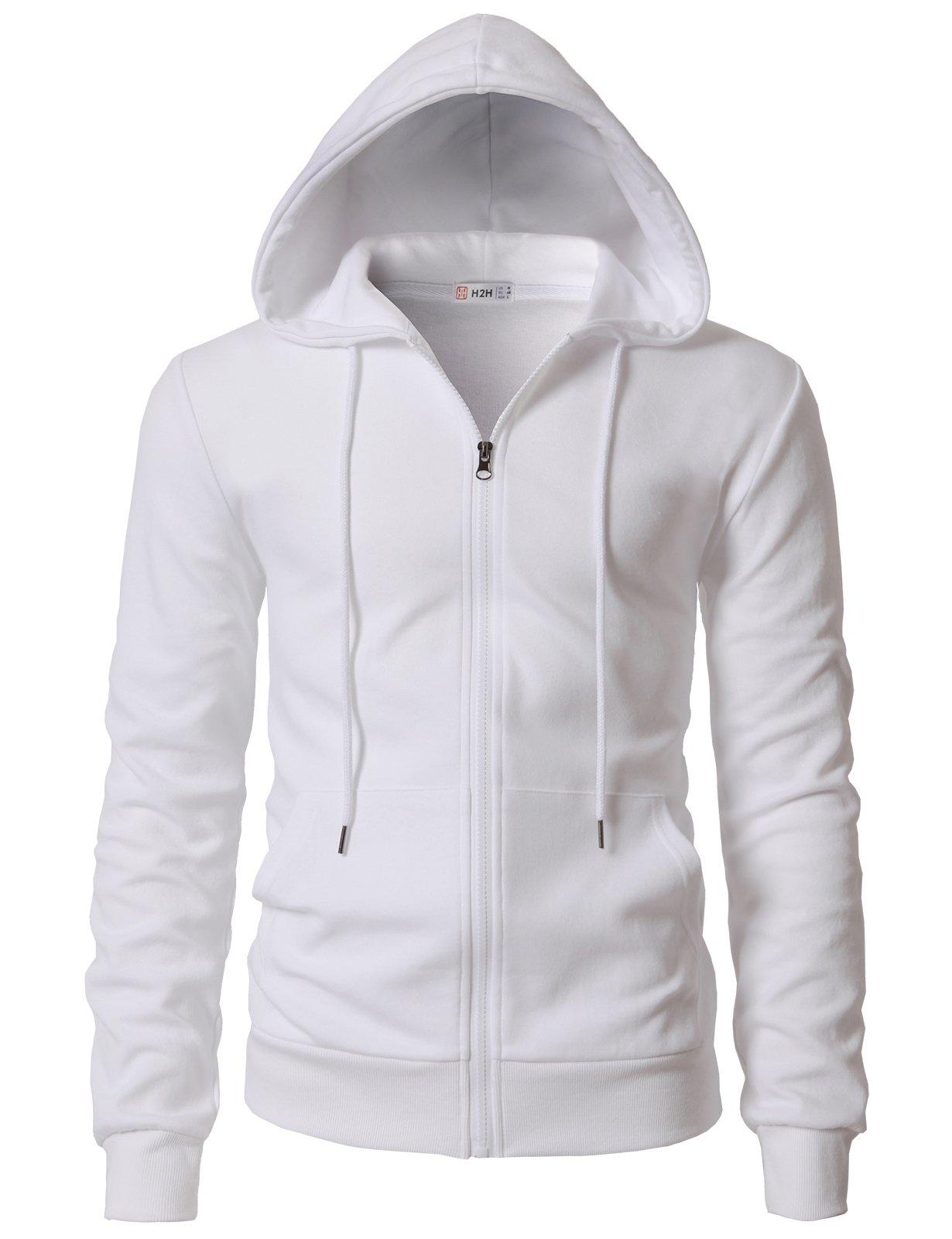 H2H Men's Zip Hoodie Fleece Full Zip Cotton Plain Hoodie Jackets White US L/Asia XL (KMOHOL0131)