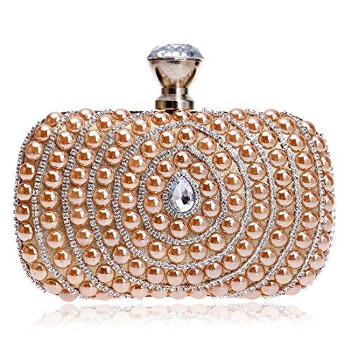 Delle Tatkldisu Sera Donne Champagne Lusso Elegante Borsa Da Di color Sposa Champagne 60S6Hwq