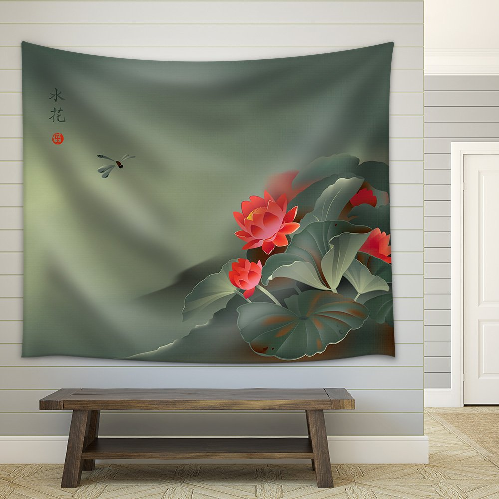 Vector Illustration Of Lotus Flower And Dragonfly In Traditional