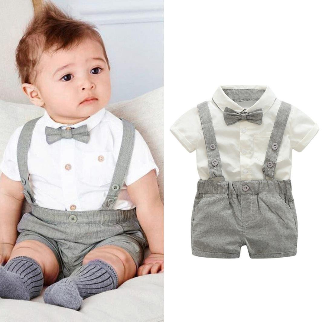 794c4671b Amazon.com  Goodlock Toddler Kids Clothes Set Baby Boys Gentleman Bowtie  Short Sleeve Shirt+Suspenders Shorts Outfits 3Pcs  Clothing