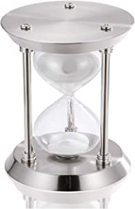 60 Minute Hourglass, Silver Metal Sand Timer 1 Hour, Vintage Sand Clock One hour, Unique Large Sand Watch 60 Min, Antique Glass Sandglass Timer with White Sand for Home, Desk, Office, Wedding Decor