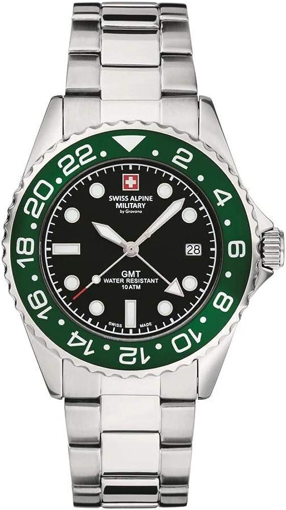 Swiss Alpine Military 7052 - Reloj analógico de cuarzo para hombre, acero inoxidable