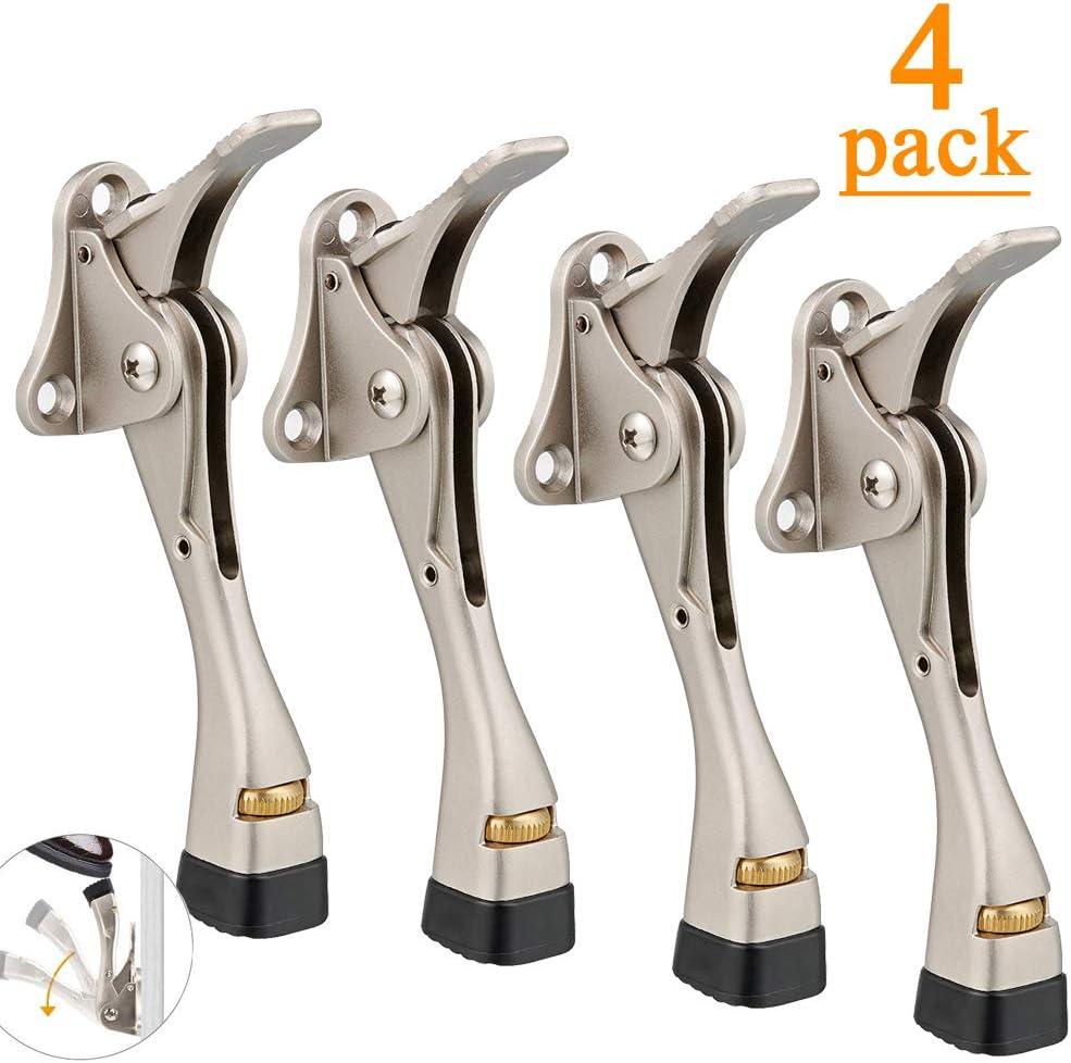 Door Stops 4 Packs Kickdown Door Stop with One Touch Adjustable Height and Rubber Tip 4 Inches Gotega Door Stopper