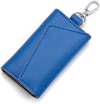 KEAKIA Statue Of Liberty Leather Key Case Wallets Tri-fold Key Holder Keychains with 6 Hooks 2 Slot Snap Closure for Men Women