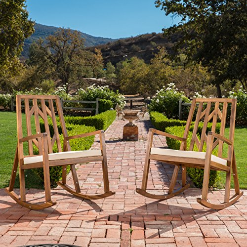 Rocking Chair Set - Monterey Outdoor Wood Rocking Chair with White Cushion (Set of 2)