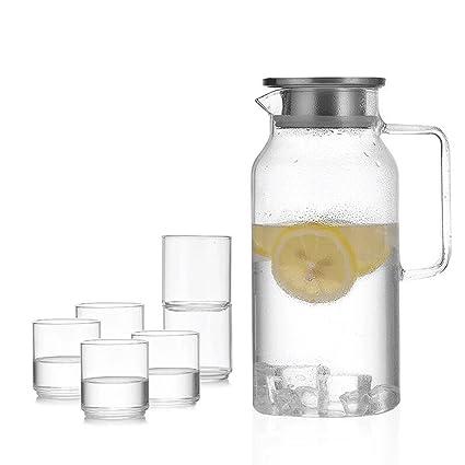 ZHAOJING Juego de botellas de agua fría de vidrio resistente al calor Juego de 2 litros