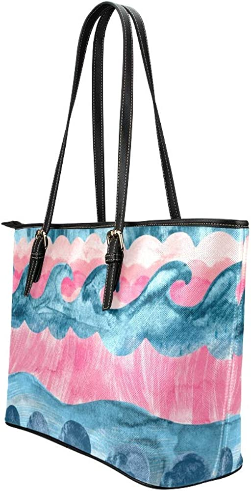 Tote Bag For Women With Zipper Colorfyl Art Lighthouse Flower Fish Leather Hand Totes Bag Causal Handbags Zipped Shoulder Organizer For Lady Girls Womens Man Handbag