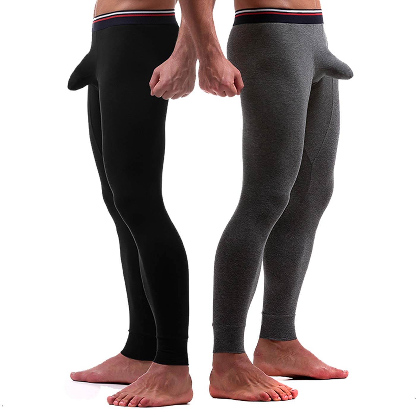 Ouruikia Men's Thermal Underwear Pants Long Johns Bottom Thermal Pants Separate Pouch (Black + Dark Grey, US L) by Ouruikia
