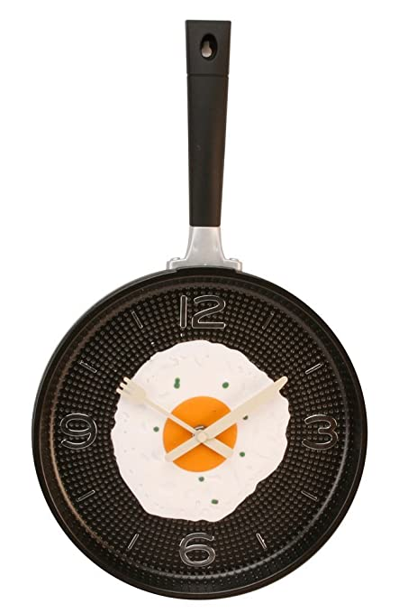 Frying Pan With Fried Egg Shaped Wall Clock Shabby Chic Kitchen Themed Unique Wall