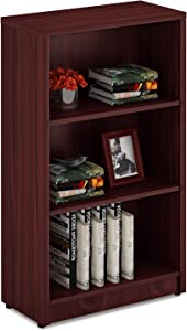Sunon Wood Bookcase Freestanding Display 3 Shelf Book Case Adjustable Layers Bookshelf for Home and Office (Mahogany, 3-Layers)