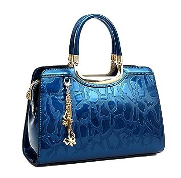 70a162be7ab81 Yan Show Damen Schmetterlings-Anhänger Schulter Beutel Lackleder Handtasche  Neu Stein Muster Handtaschen Blau