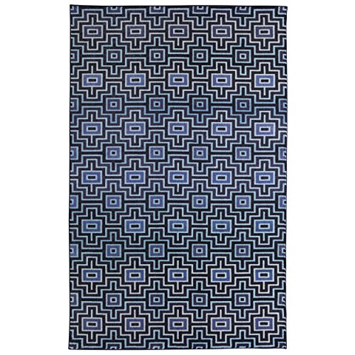Mohawk Home Prismatic Linear Maze Navy Geometric Precision Printed Area Rug, 8'x10' , Navy Blue