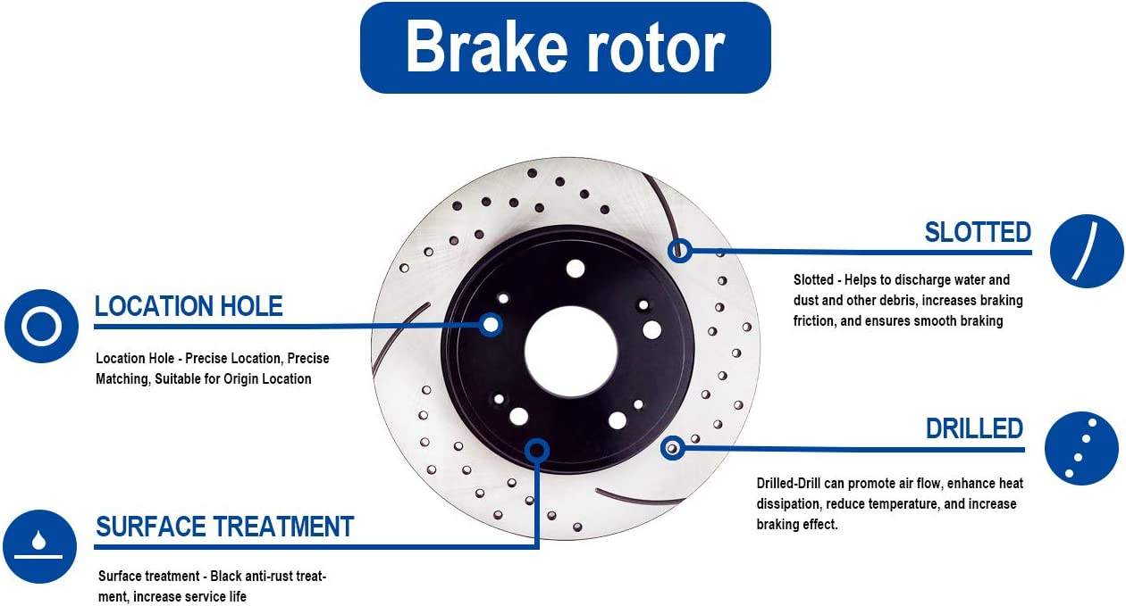 Atmansta QPD10053G Front Brake kit with OE Replacement Rotors and Ceramic Brake pads for Buick Lucerne Chevrolet Impala Monte Carlo