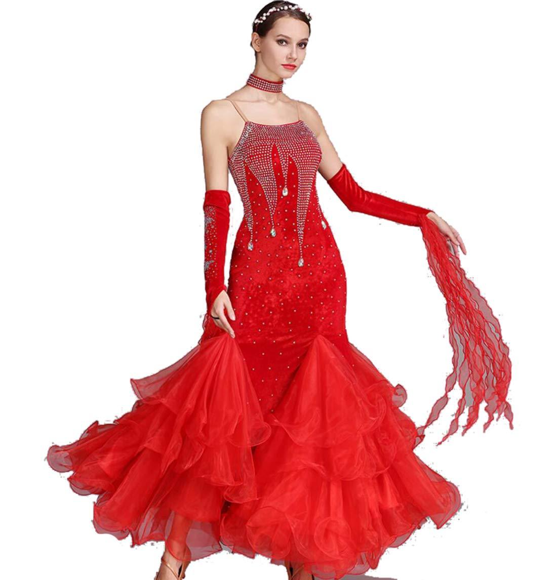 C S ZYLL Robes de Danse de Salon Robe de Danse Moderne pour Les Femmes Norme Nationale Costume de Danse de Salon en Dentelle Couture Tango Valse Exercice Jupe Tulle balançoire