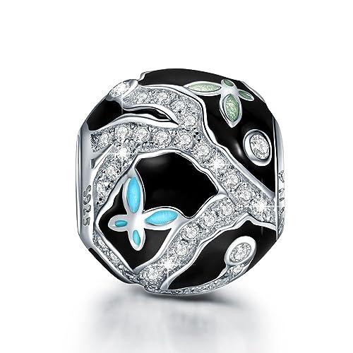 NINAQUEEN Mariposa tranquila Abalorio de mujer de plata de ley Charms beads, Regalos de Navidad Viene con caja de regalo, sin níquel