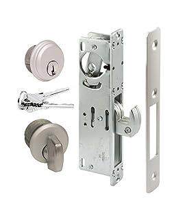 Storefront Door Mortise Lock Hook Deadbolt & Cylinder Combo, Adams Rite Cam, in Aluminum (1-1/8 BACKSET)