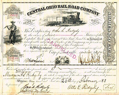 1877 RARE ORIGINAL CENTRAL OHIO RAILROAD (ZANESVILLE) STOCK CERTIFICATE w MULTIPLE SIGNATURES Various Share Amounts Extremely Fine