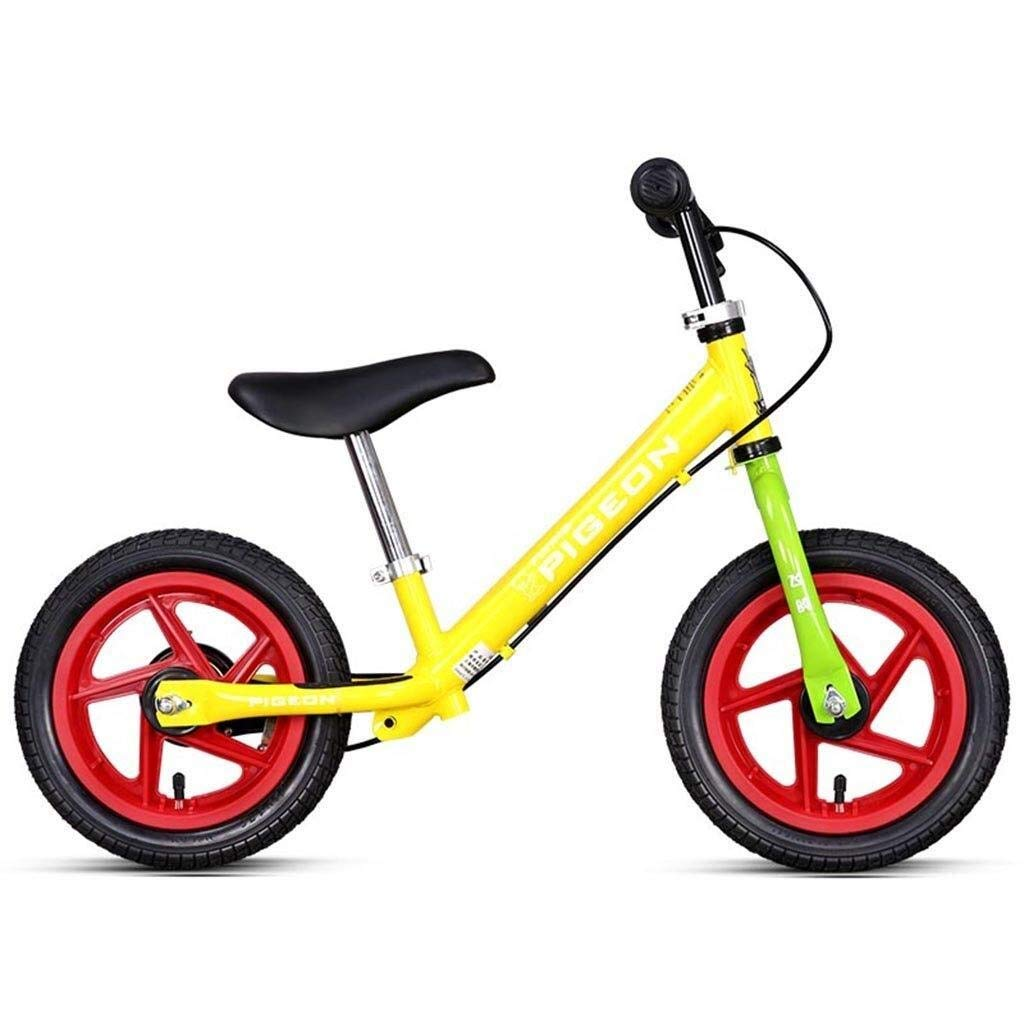 バランスバイク、ハンドブレーキ付きガールズバイク - 子供用軽量ペダルなし調整可能シート付き自転車、ランニングバイク2/3/4/5/6才、青/黄 ZHAOFENGMING (Color : Yellow, Size : As shown) B07T9TKTS1 Yellow As shown