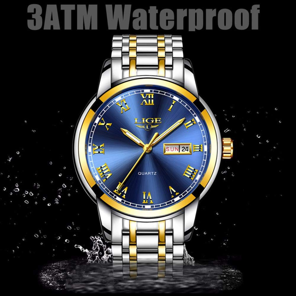Herrklockor, stålbälte tre-stiftskontakt kvartsur mode dekorativ vattentät klocka Belt Silver Black