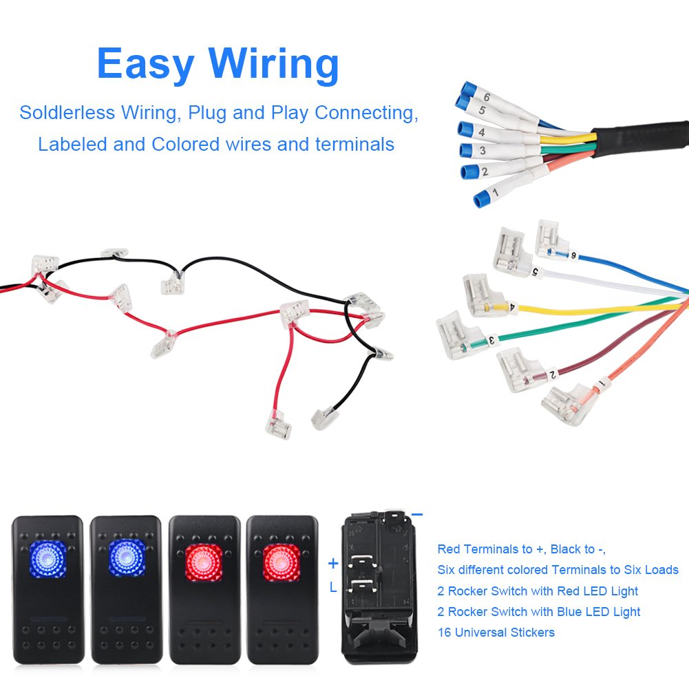 Waterwich A Pillar Switch Pod And Fuse Relay Box Source Rocker Wiring Diagram Also Led Control System For Jeep Wrangle Jk Jku 2007 2018 Waterproof 4 Wire