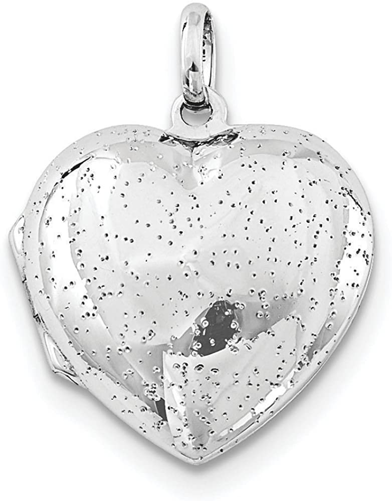 .925 Sterling Silver Sparkle Heart Locket Charm Pendant