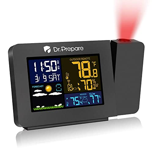 Dr. Prepare Projection Alarm Clock for Bedrooms with Indoor Outdoor Temperature Display Dual Alarms Multi-Colored Backlight Projection Clock with Weather Forecast
